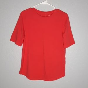 Eileen Fisher Bright Coral Red Organic Cotton Tee